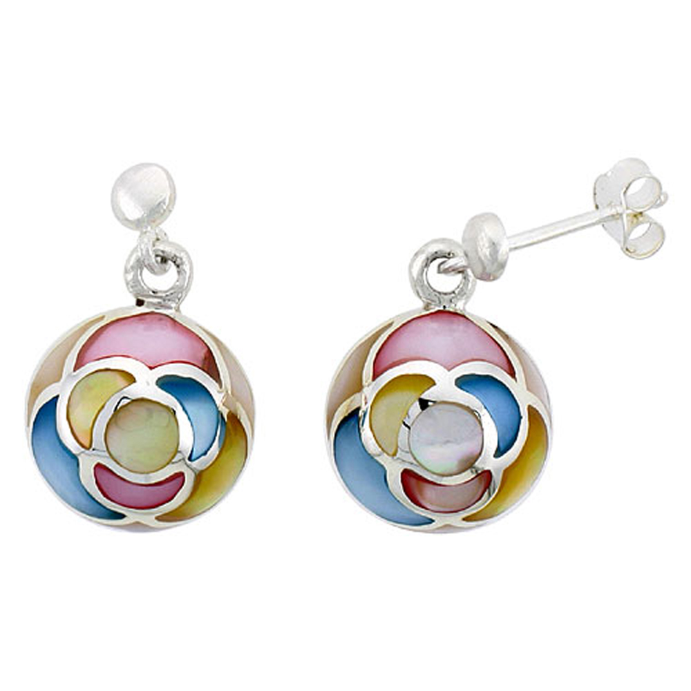 """Sterling Silver Round Pink, Blue, Light Yellow & White Mother of Pearl Inlay Earrings, 1/2"""" (13 mm) tall"""