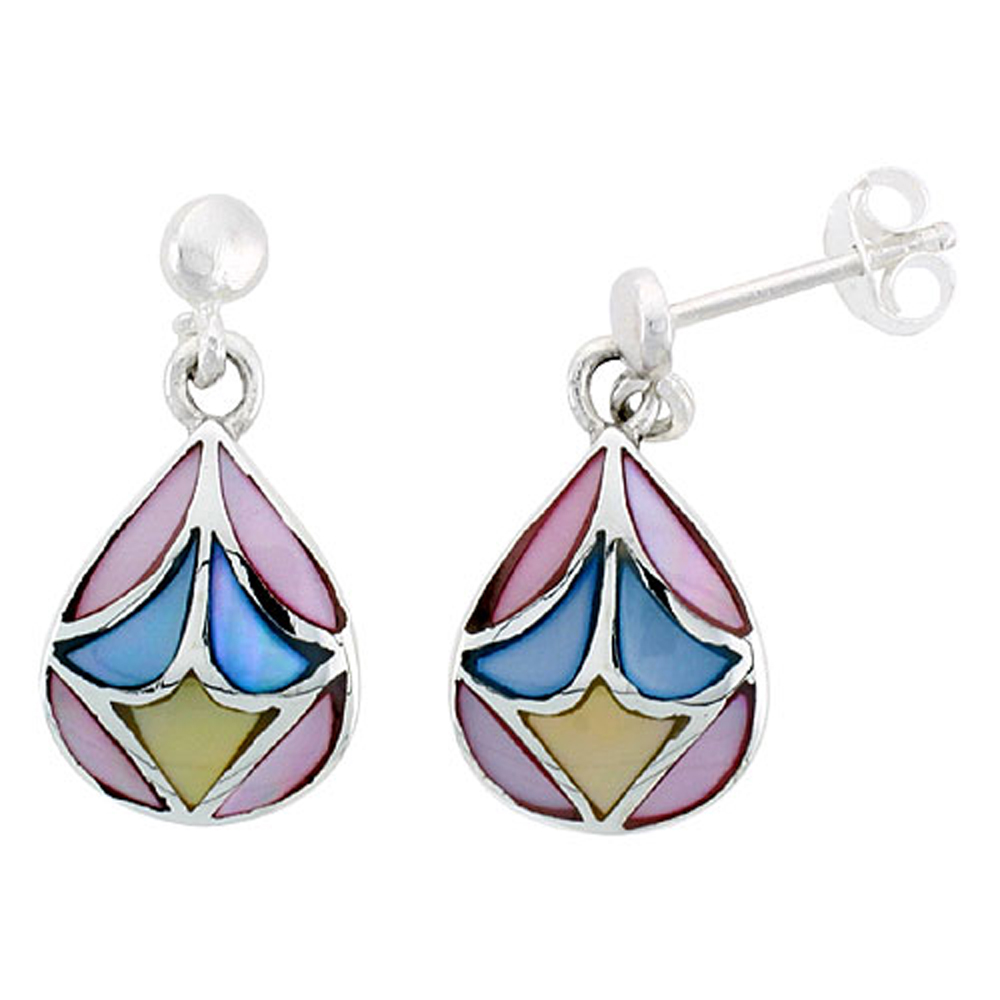 """Sterling Silver Pear-shaped Pink, Blue & Light Yellow Mother of Pearl Inlay Earrings, 9/16"""" (15 mm) tall"""