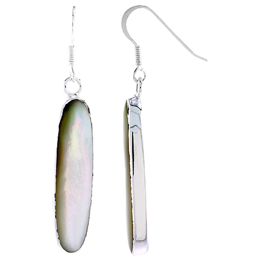 "Sterling Silver Oval Mother of Pearl Inlay Earrings, 1 5/16"" (33 mm) tall"