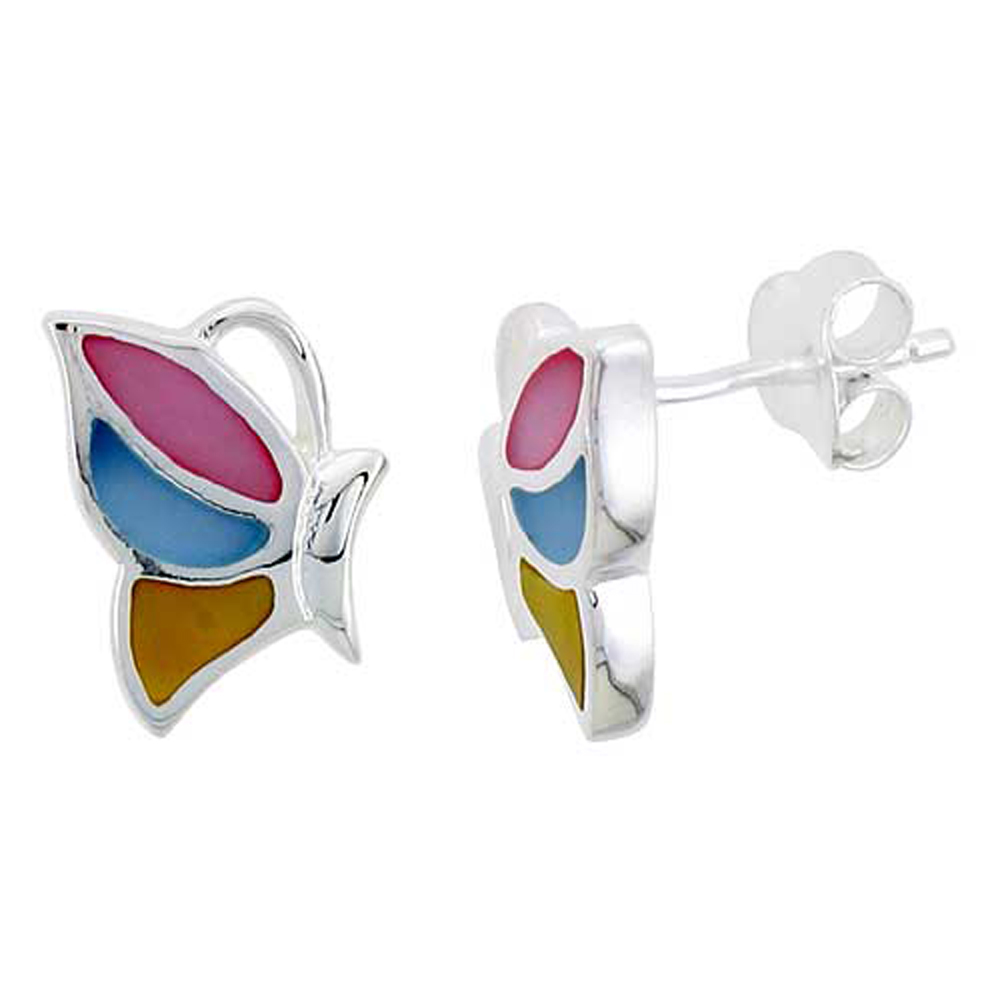 """Sterling Silver Half Butterfly Pink, Blue & Light Yellow Mother of Pearl Inlay Earrings, 9/16"""" (15 mm) tall"""