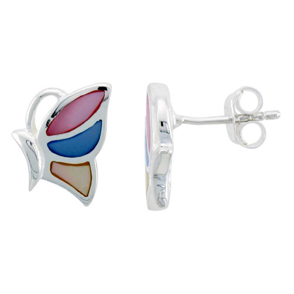 """Sterling Silver Half Butterfly Pink, Blue & Light Yellow Mother of Pearl Earrings, 9/16"""" (15 mm) tall"""