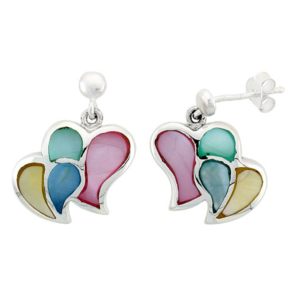 """Sterling Silver Double Heart Pink, Blue, Green & Light Yellow Mother of Pearl Inlay Earrings, 5/8"""" (15 mm) tall"""