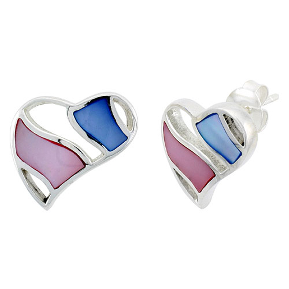 "Sterling Silver Heart Pink & Blue Mother of Pearl Inlay Earrings, 11/16"" (17 mm) tall"