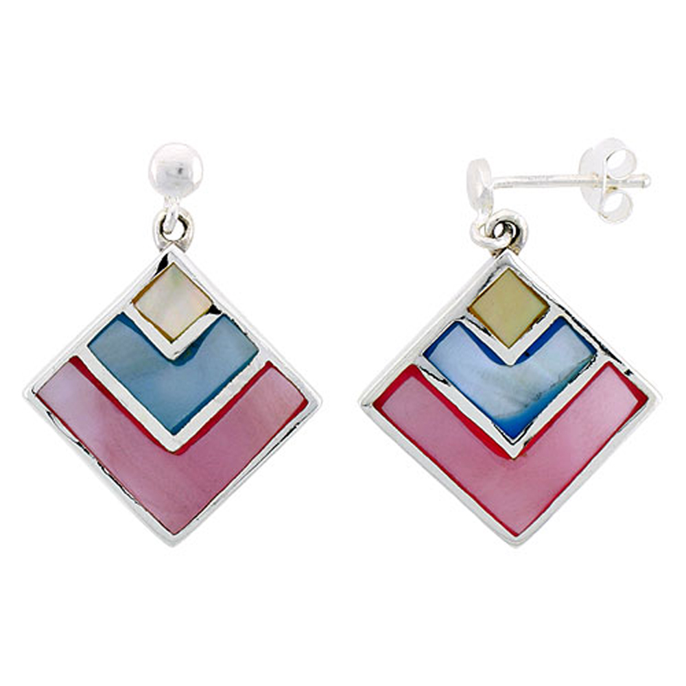 "Sterling Silver Diamond-shaped Pink, Blue & Light Yellow Mother of Pearl Inlay Earrings, 13/16"" (21 mm) tall"