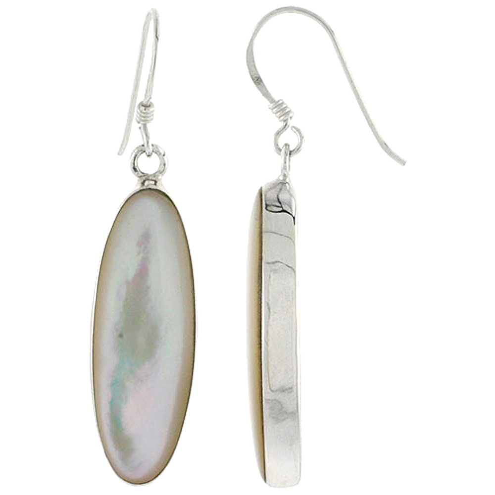 "Sterling Silver Oval Mother of Pearl Inlay Earrings, 1 1/8"" (28 mm) tall"