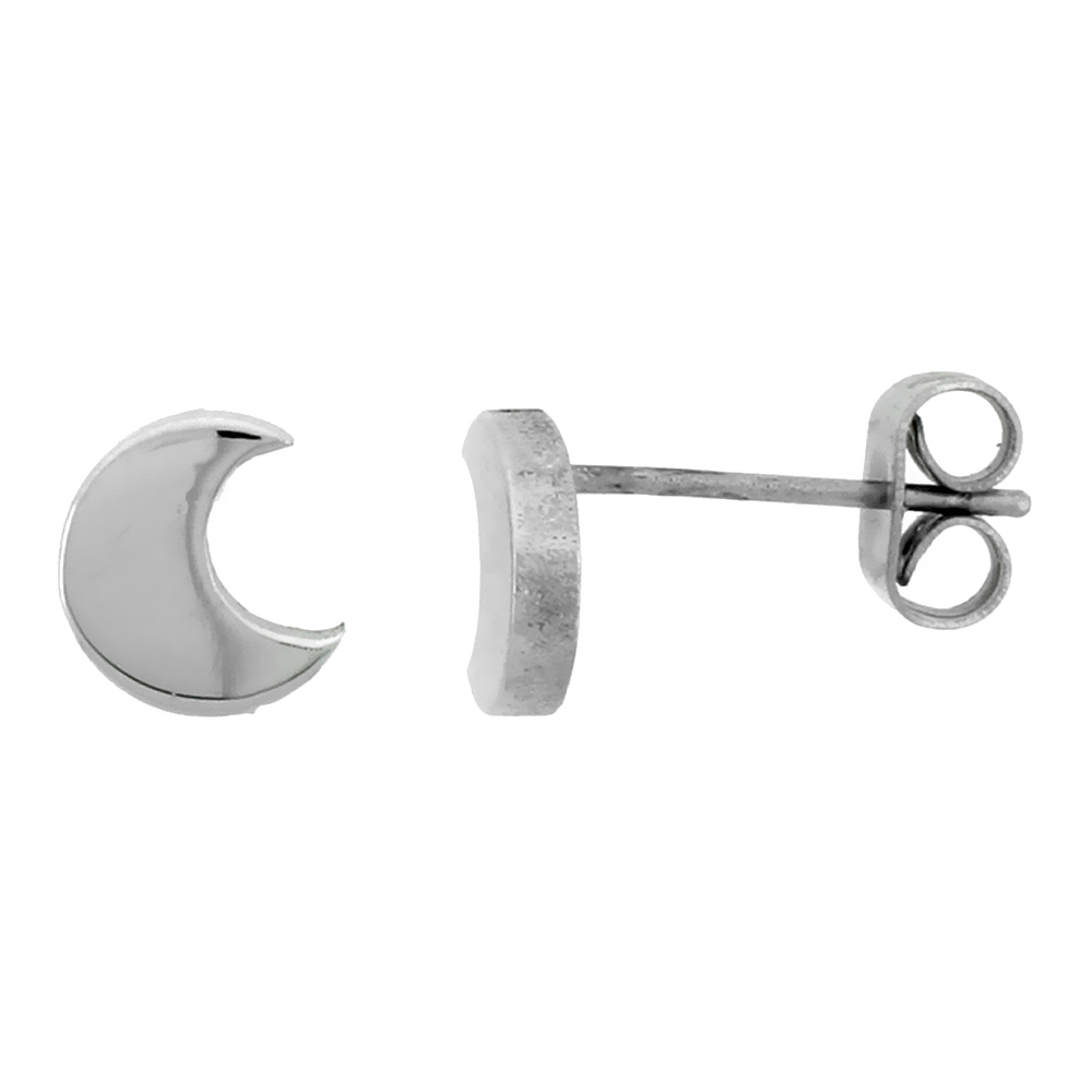 Small Stainless Steel Crescent Moon Stud Earrings, 1/4 inch