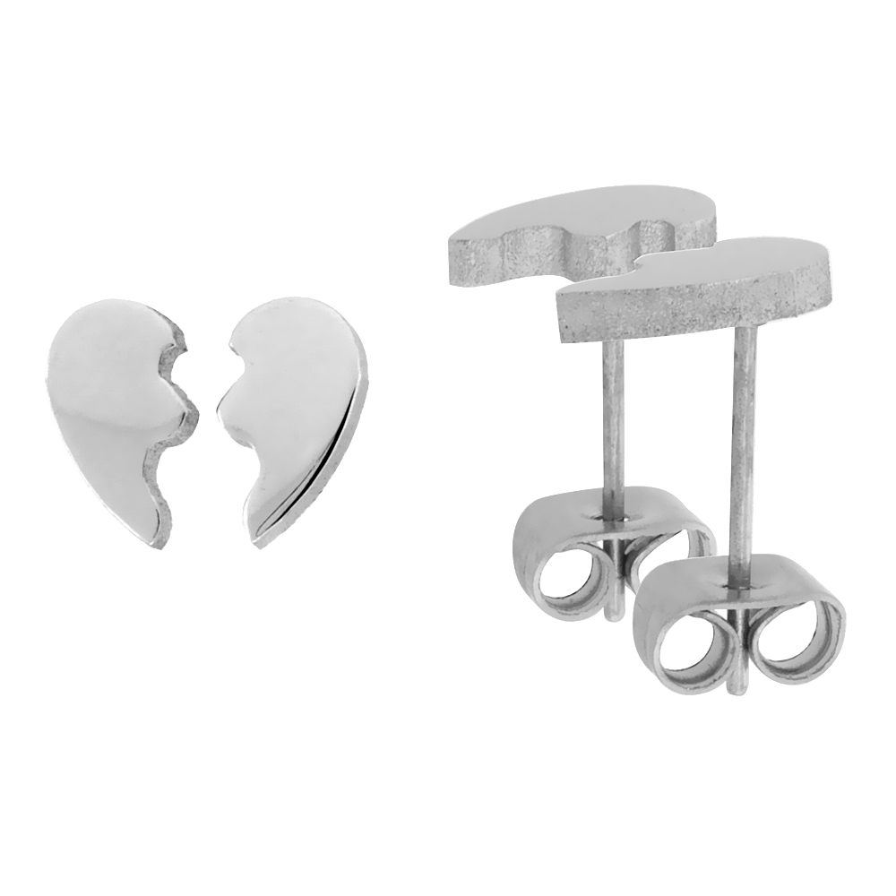 Small Stainless Steel Split Heart Stud Earrings for Best Friends 3/8 inch