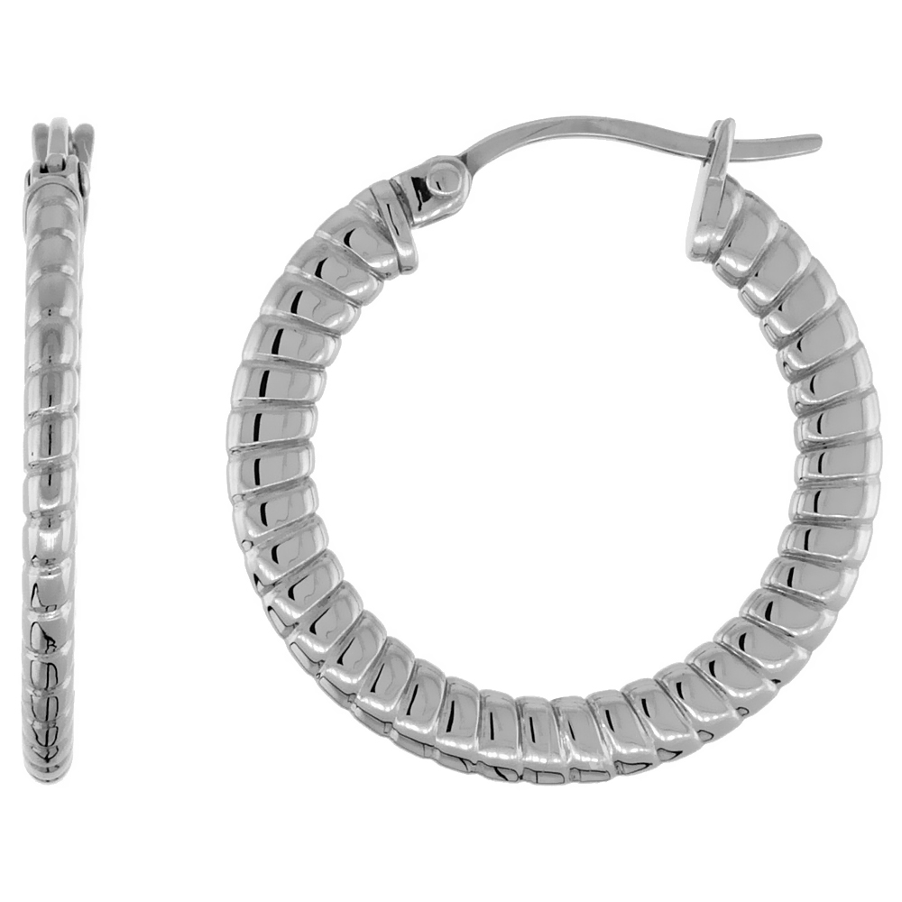 Stainless Steel Hoop Earrings 1 inch 4 mm Flat Tube Spiral Pattern Light Weight