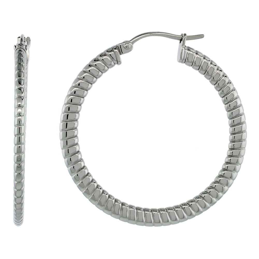 Surgical Steel Hoop Earrings 1 1/2 inch 4 mm Flat Tube Spiral Pattern Light Weight
