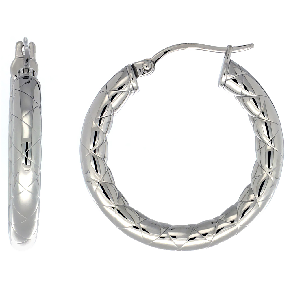 Stainless Steel Hoop Earrings 1 1/4 inch Zigzag Pattern 4mm Tube Light Weight