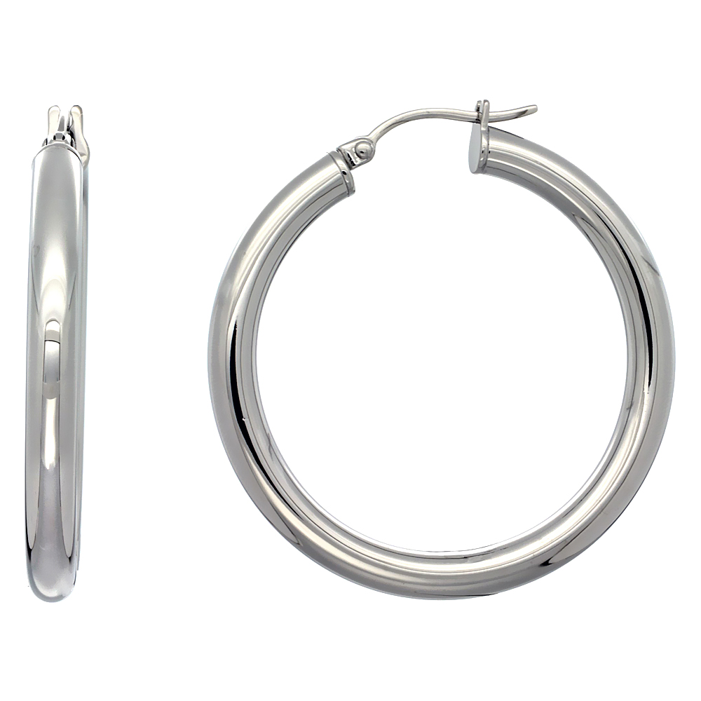 Stainless Steel Hoop Earrings 1 1/2 inch Polished 4mm Tube Plain Light Weight