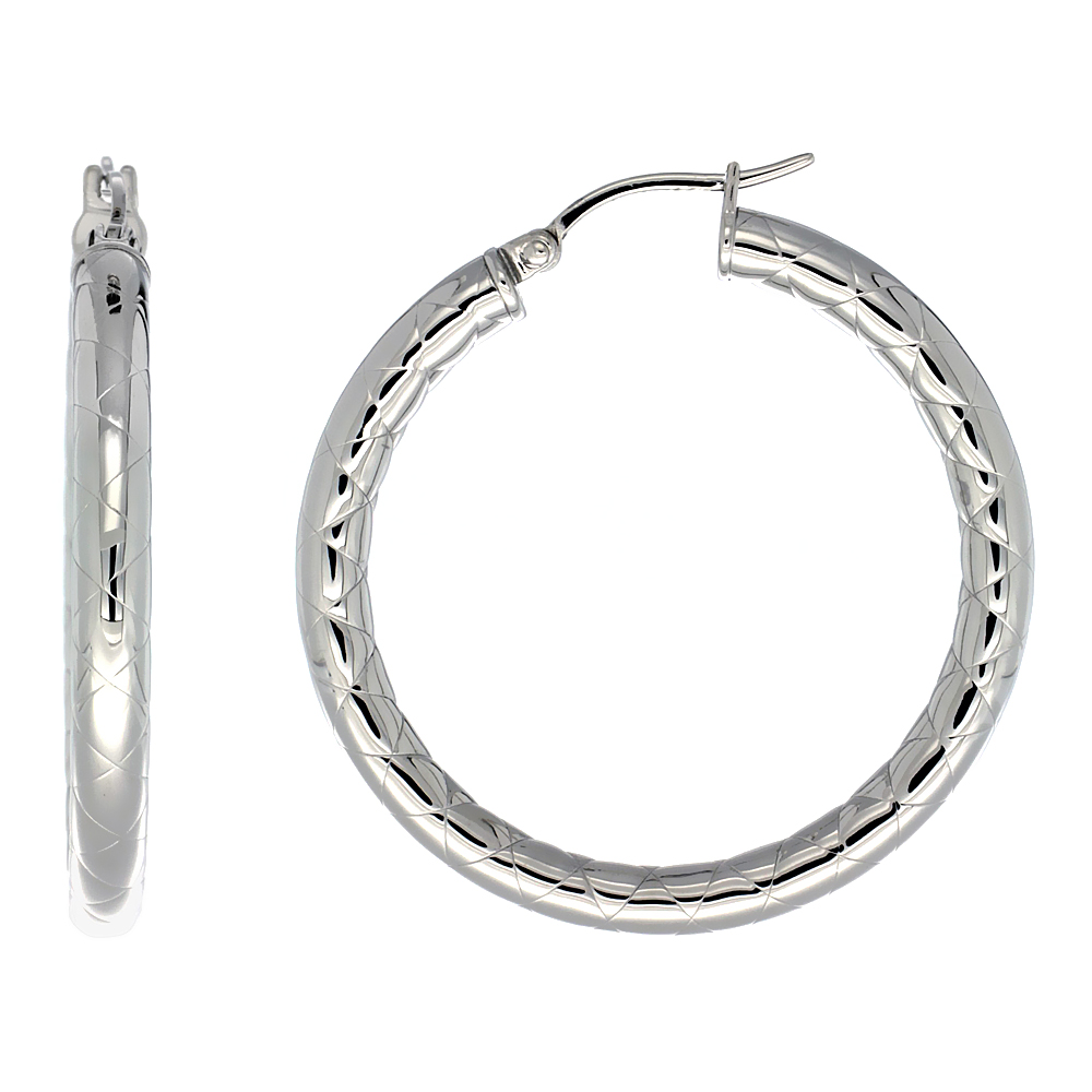 Stainless Steel Hoop Earrings 1 1/2 inch Zigzag Pattern 4mm Tube Light Weight
