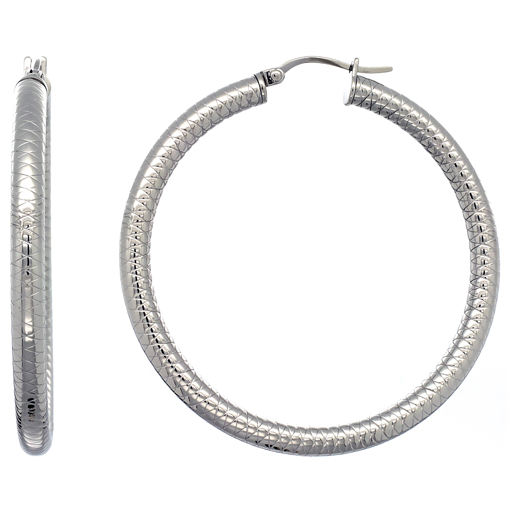 Stainless Steel Hoop Earrings 2 inch Tight Zigzag Pattern 4mm Tube Light Weight