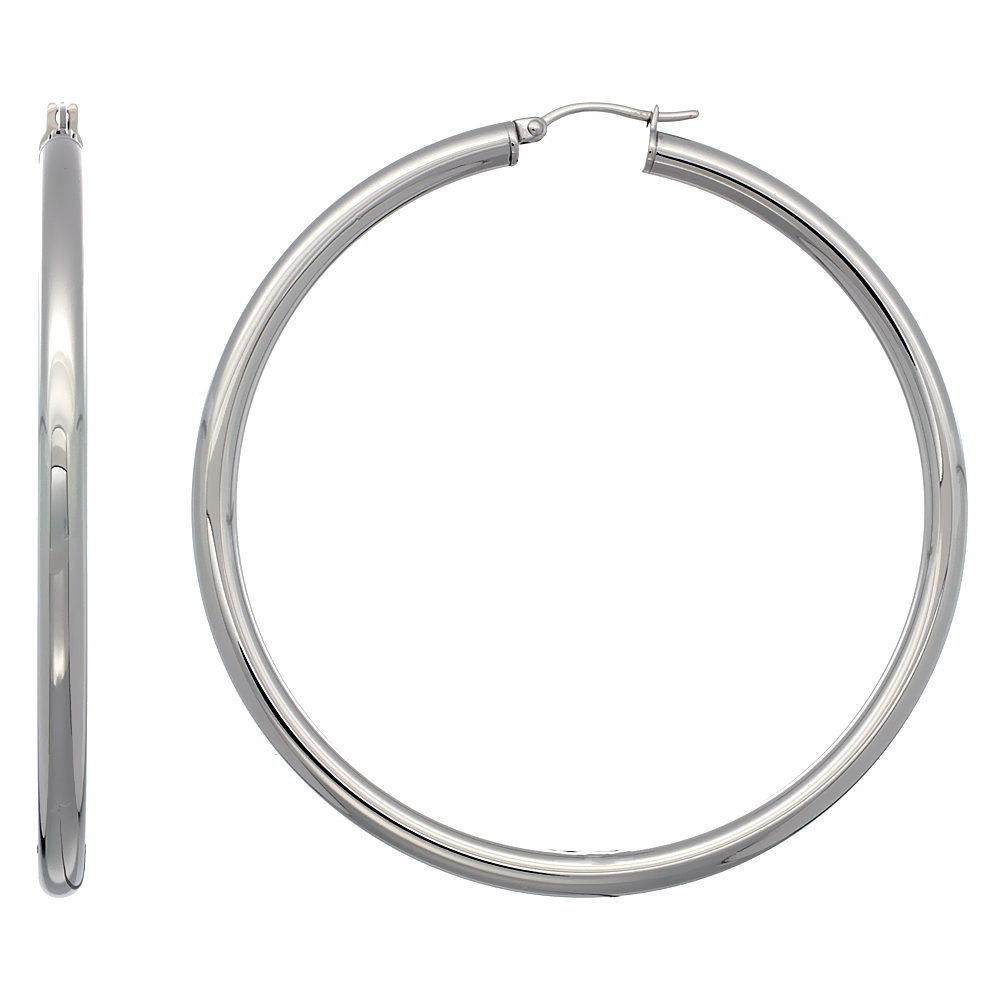 Surgical Steel Hoop Earrings 2 3/4 inch Polished 4mm Tube Plain Light Weight