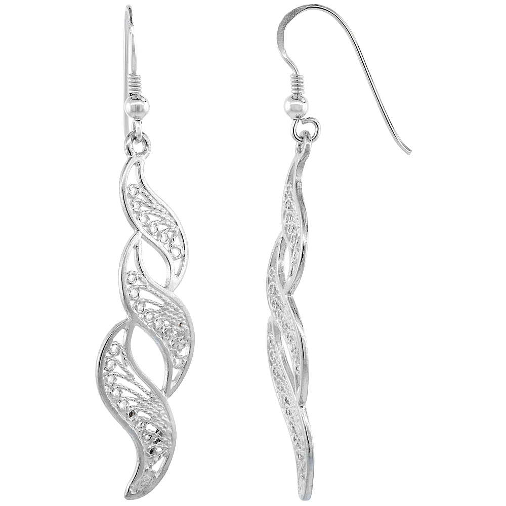 Sterling Silver Filigree Earrings, Wave Designs 2 3/16 inch