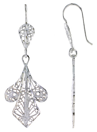 Sterling Silver Filigree Earrings 1 3/4 inch