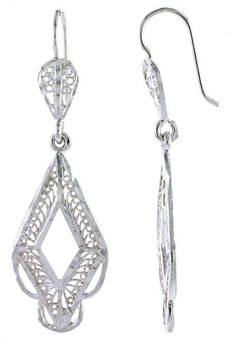 Sterling Silver Diamond shape Filigree Earrings 1 3/4 inch