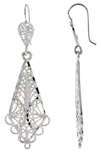 Sterling Silver Diamond shape Filigree Earrings 2 inch