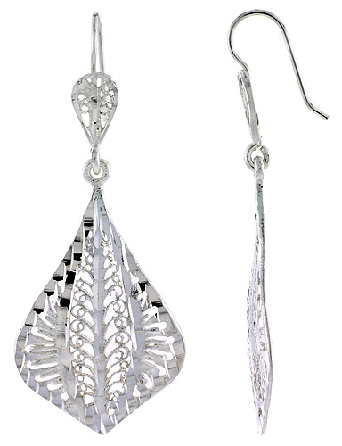 Sterling Silver Fan shape Filigree Earrings 2 inch