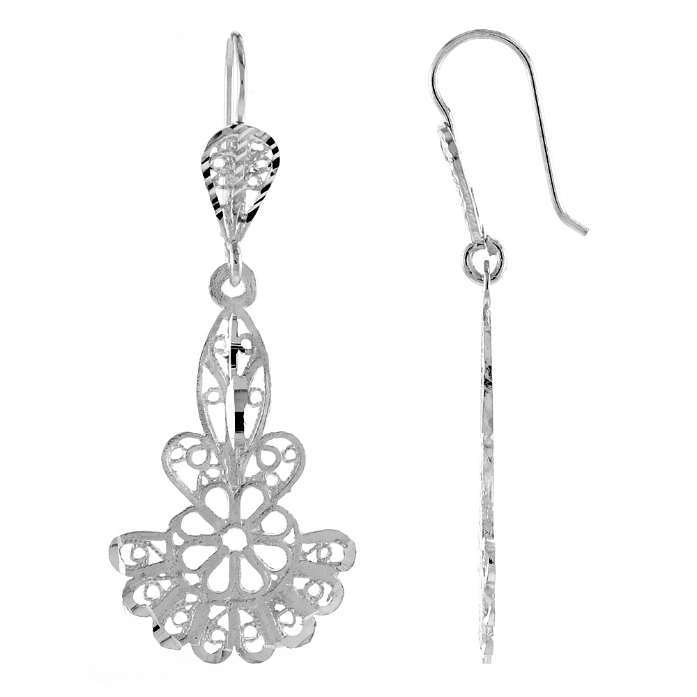Sterling Silver Fan shape Filigree Earrings 1 3/4 inch