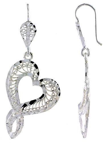 Sterling Silver Filigree Heart Earrings Earrings 1 3/4 inch