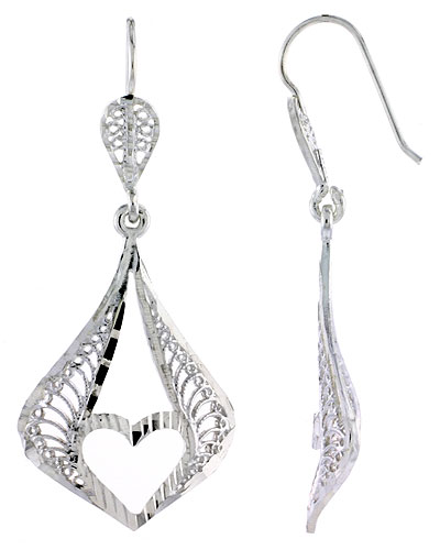 Sterling Silver Filigree Teardrop Earrings Heart Cut Out 1 3/4 inch