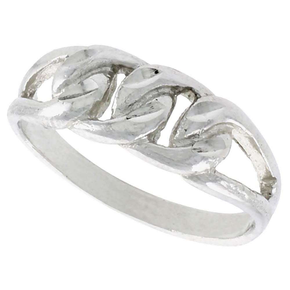 Sterling Silver Small Curb Link Chain Ring Polished finish 1/4 inch wide, sizes 6 - 9