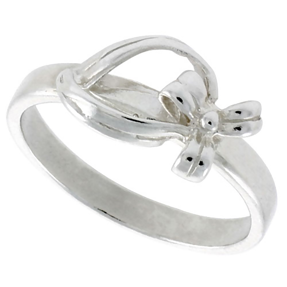 Sterling Silver Dainty Bow Ring 5/16 inch wide, sizes 6 - 9
