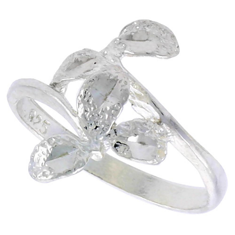 Sterling Silver Leaf Ring Polished finish 5/8 inch wide, sizes 6 - 9