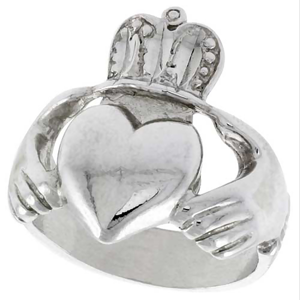 Sterling Silver Large Claddagh Ring 7/8 inch wide, sizes 6 - 9