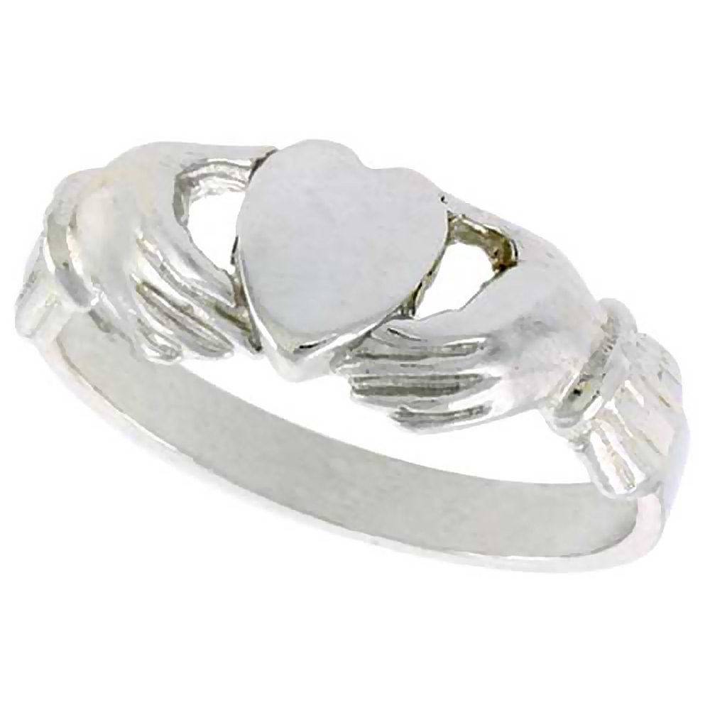 Sterling Silver Fenian Claddagh Ring without Crown 1/4 inch wide, sizes 6 - 9