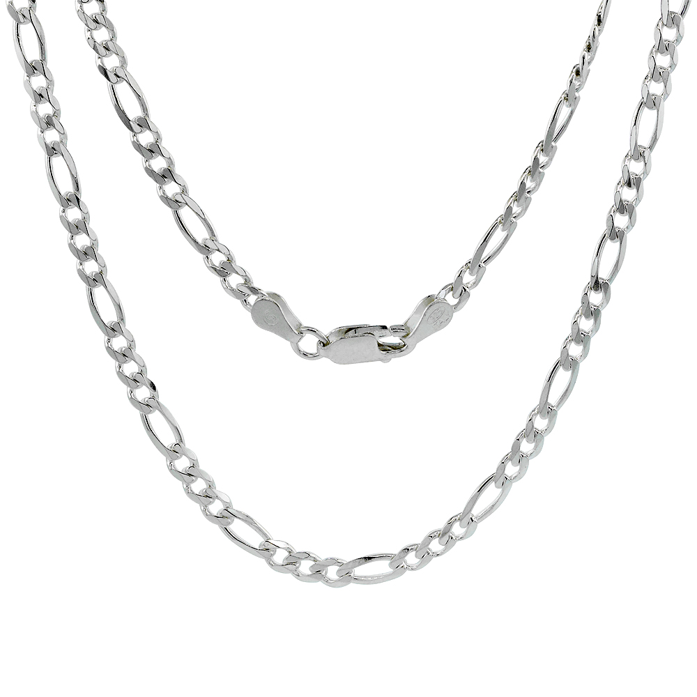 Sterling Silver Figaro Link Chain Necklaces & Bracelets 3.8mm Beveled Edges Nickel Free Italy, 7-30 inch