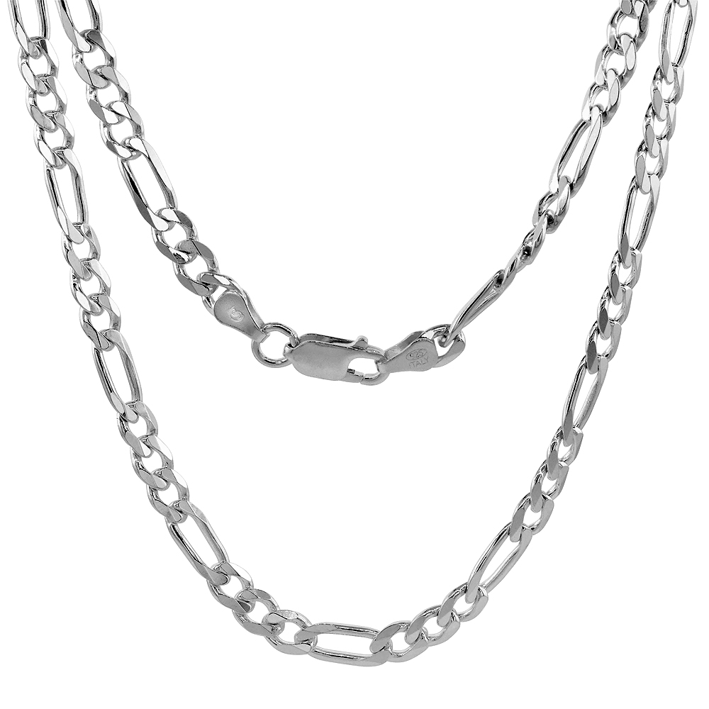 Sterling Silver Figaro Link Chain Necklaces & Bracelets 5.5mm Beveled Edges Nickel Free Italy, 7-30 inch