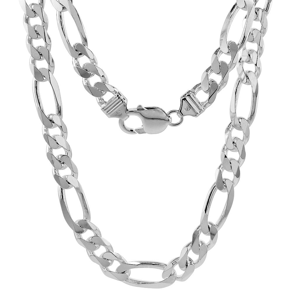 Sterling Silver Figaro Link Chain Necklaces & Bracelets 9mm Beveled Edges Nickel Free Italy, 7-30 inch