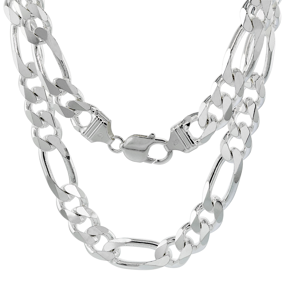 Sterling Silver Thick Figaro Link Chain Necklaces & Bracelets 10.7mm Beveled Nickel Free Italy, 8-30 inch