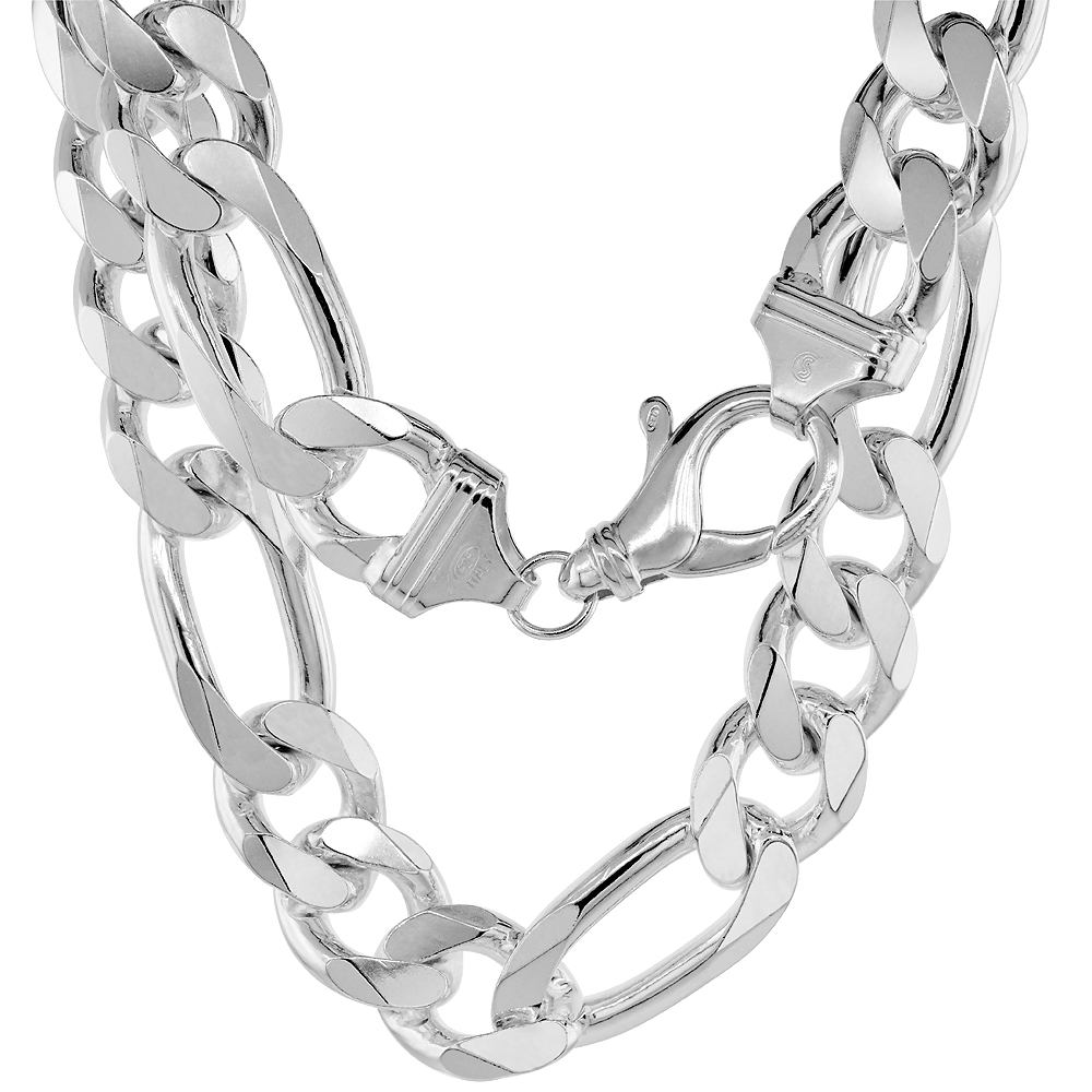 Sterling Silver Thick Figaro Link Chain Necklaces & Bracelets 16mm Beveled Nickel Free Italy, 8-30 inch
