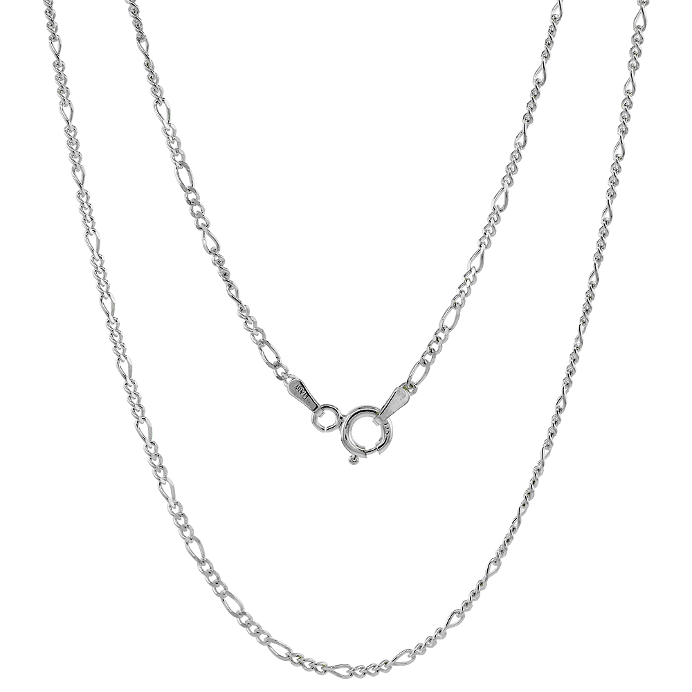 Sterling Silver Figaro Link Chain Necklaces & Bracelets 1.8mm Thin Nickel Free Italy, sizes 7 - 30 inch