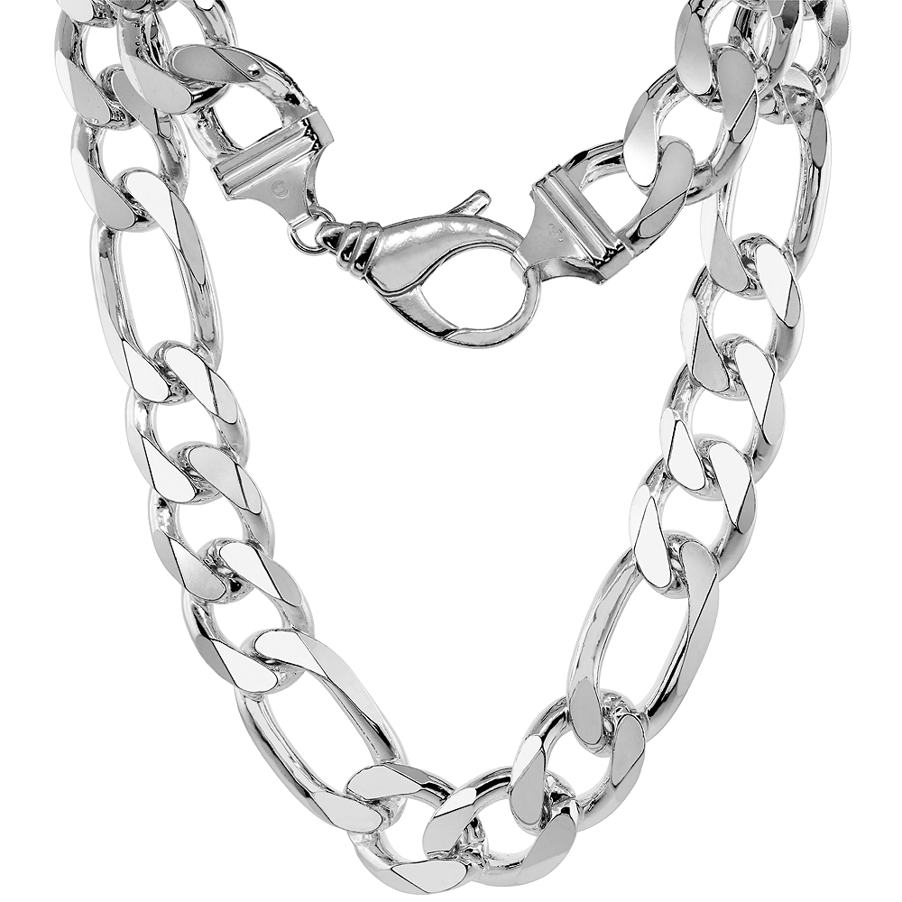 Sterling Silver Thick Figaro Link Chain Necklaces & Bracelets 17mm Beveled Nickel Free Italy, 8-30 inch