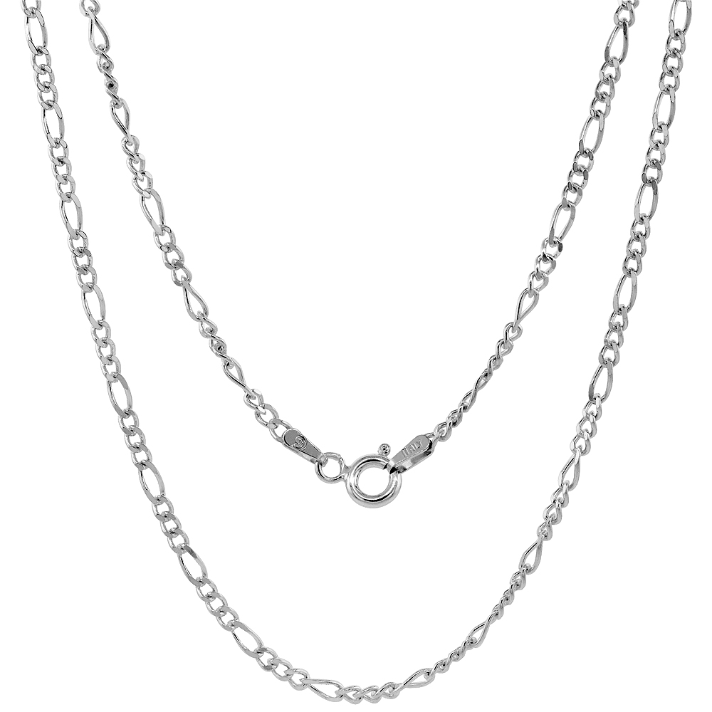 Sterling Silver Figaro Link Chain Necklaces & Bracelets 2.5mm Nickel Free Italy, sizes 7 - 30 inch
