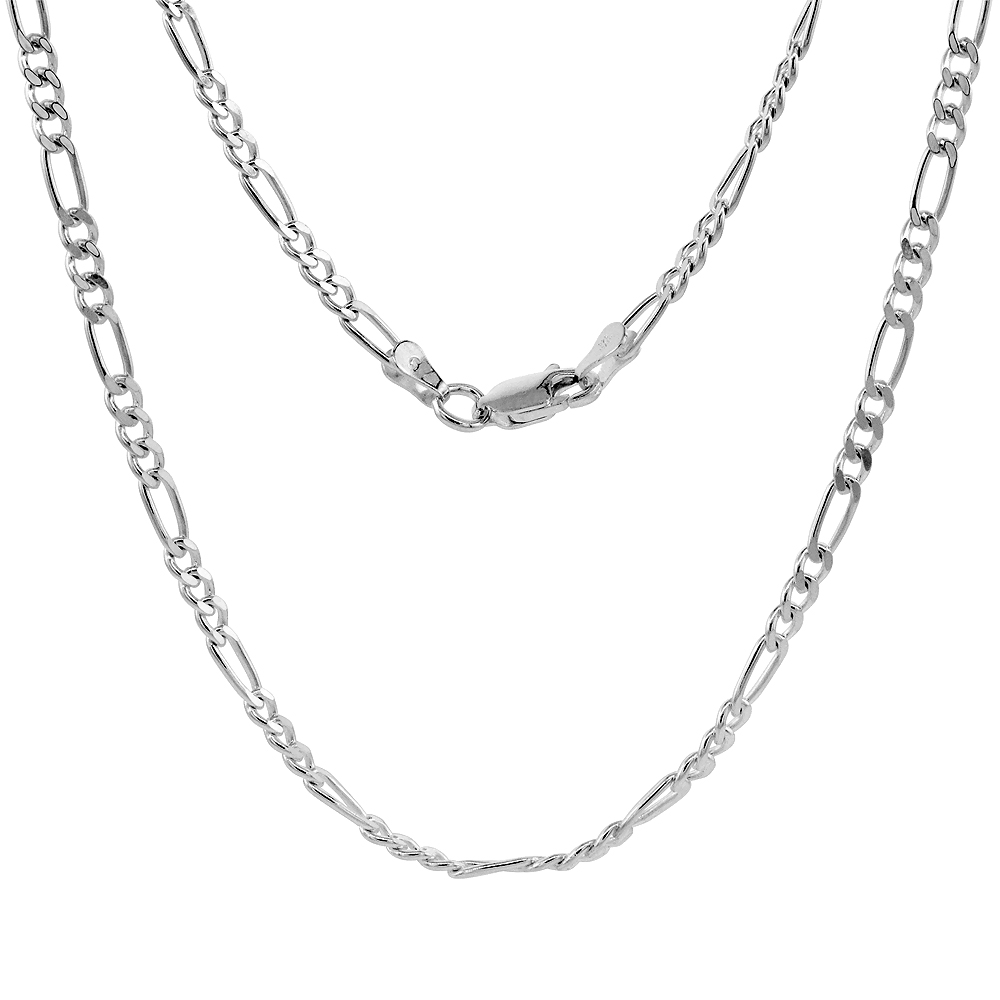 Sterling Silver Figaro Link Chain Necklaces & Bracelets 3mm Beveled Edge Nickel Free Italy, 7-30 inch