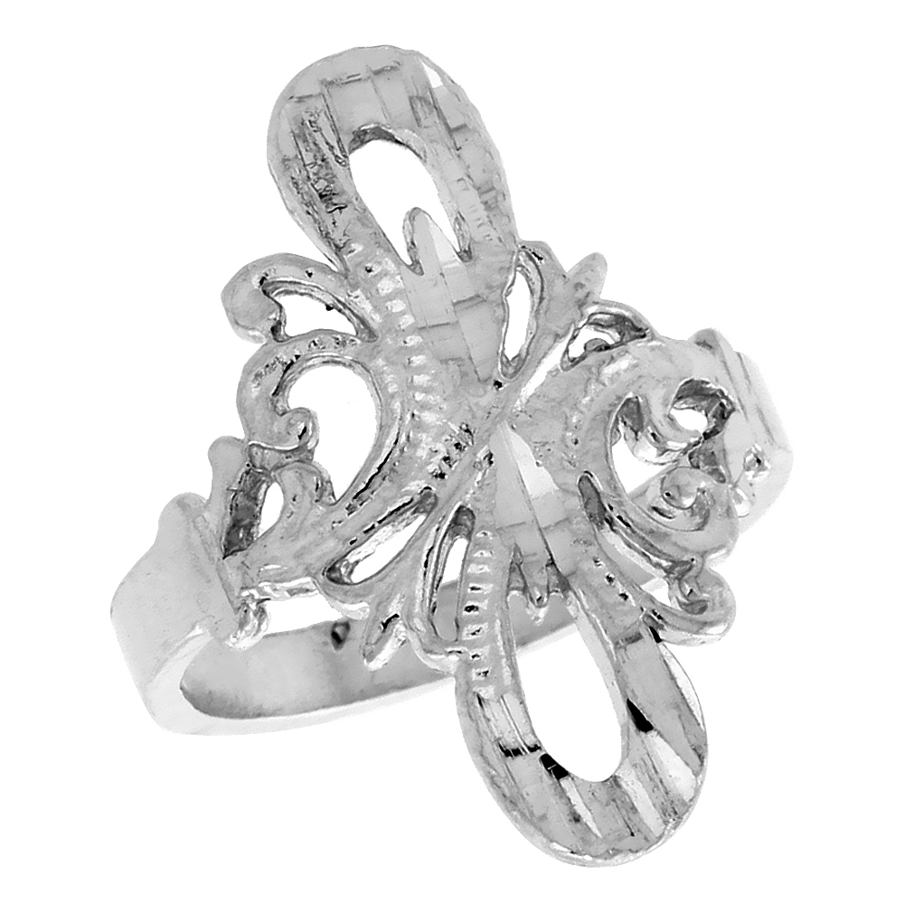 Sterling Silver Double Loop Filigree Ring, 7/8 inch