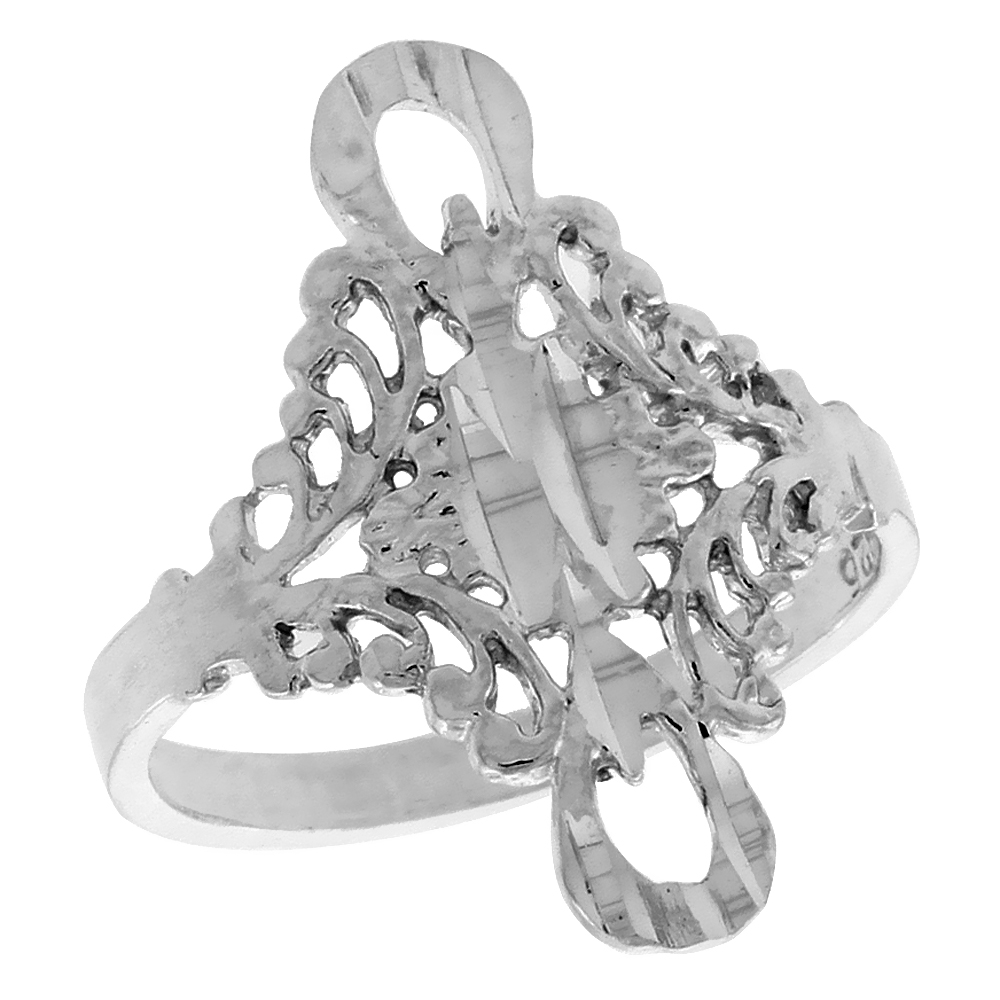Sterling Silver Floral Filigree Ring, 3/4 inch w/ Loops