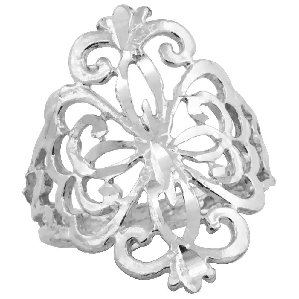 Sterling Silver Floral Pattern Filigree Ring, 3/4 inch