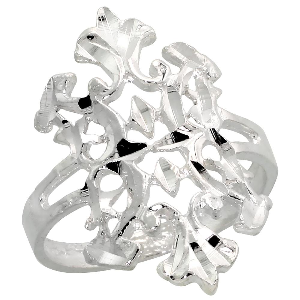 Sterling Silver Fleur de Lis Filigree Ring, 7/8 inch