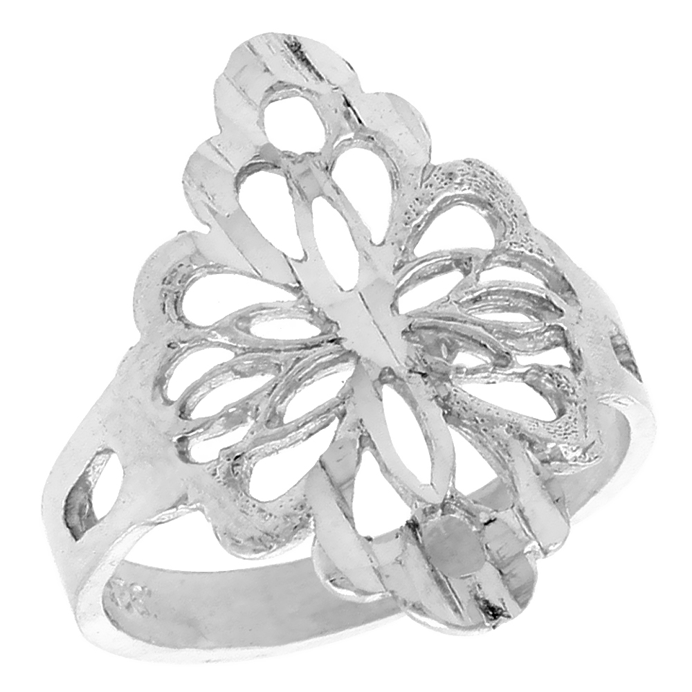 Sterling Silver Diamond-shaped Floral Filigree Ring, 3/4 inch