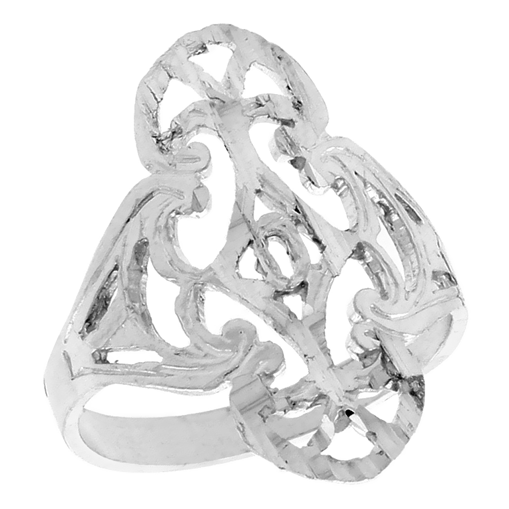 Sterling Silver Filigree Ring, 3/4 inch