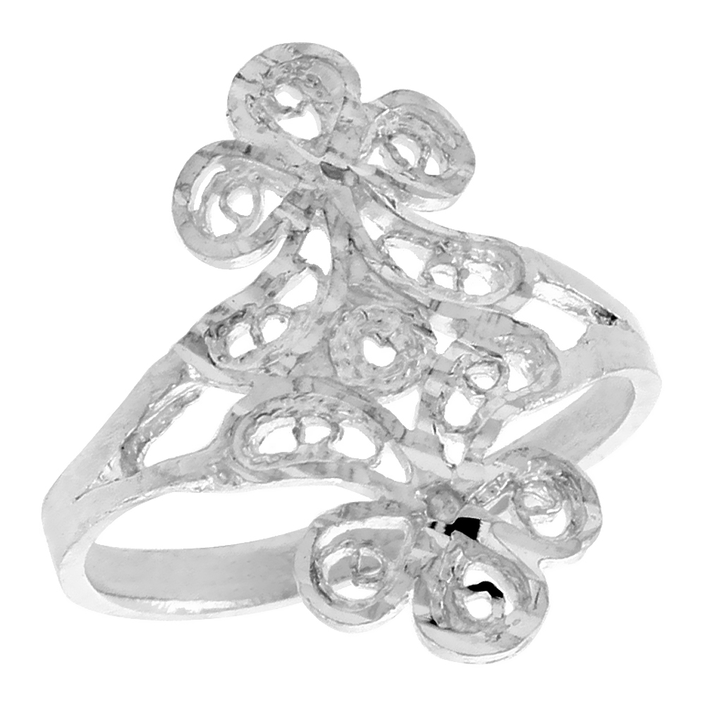 Sterling Silver Floral Filigree Ring, 3/4 inch