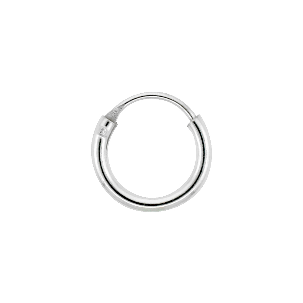 10 Pairs Sterling Silver Teeny Endless Hoop Earrings for cartilage, Nose and lips, 5/16 inch wide