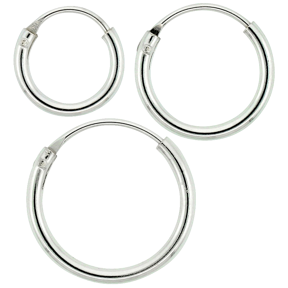 Sterling Silver 8mm 10mm & 12mm Tiny Endless Hoop Earrings Set
