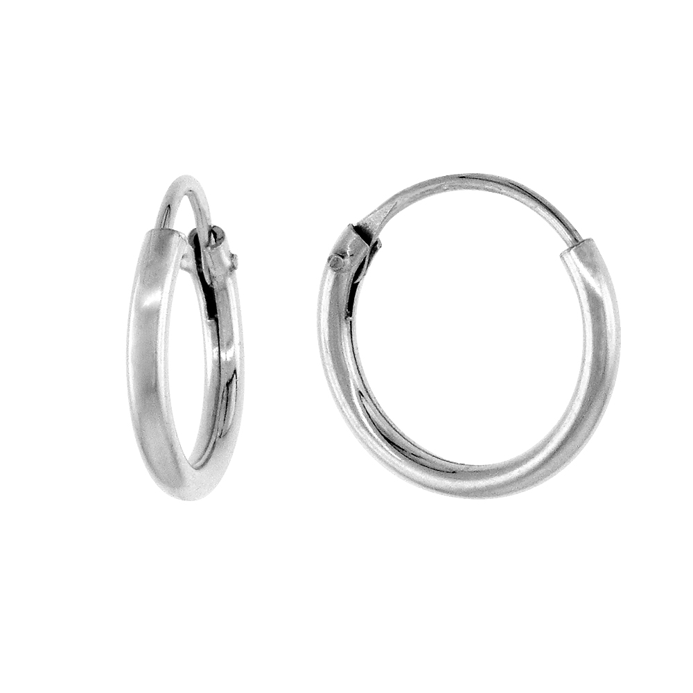10 Pairs Sterling Silver Small Endless Hoop Earrings for cartilage, Nose and lips, 3/8 inch wide